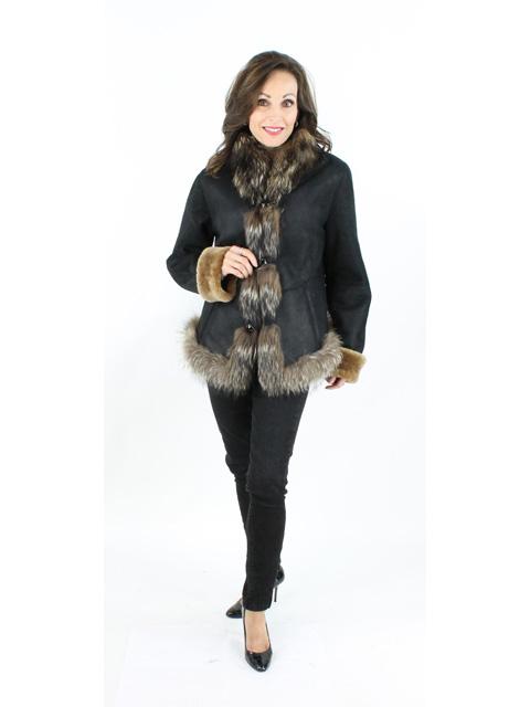 NEW Shearling Lamb Jacket w/Finnish Raccoon Trim