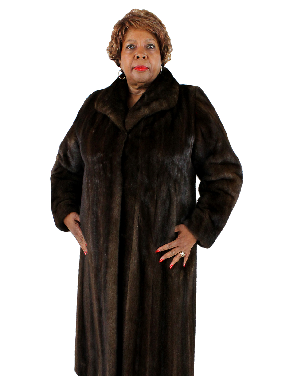 Woman's Light Mahogany Mink Fur Coat