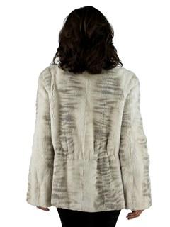 Woman's Two Tone Cream Sheared Mink Fur Jacket Reversible to Rain Fabric