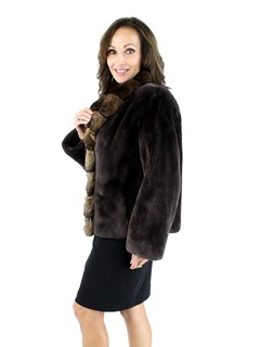 Woman's Brown Sheared Beaver Fur Jacket