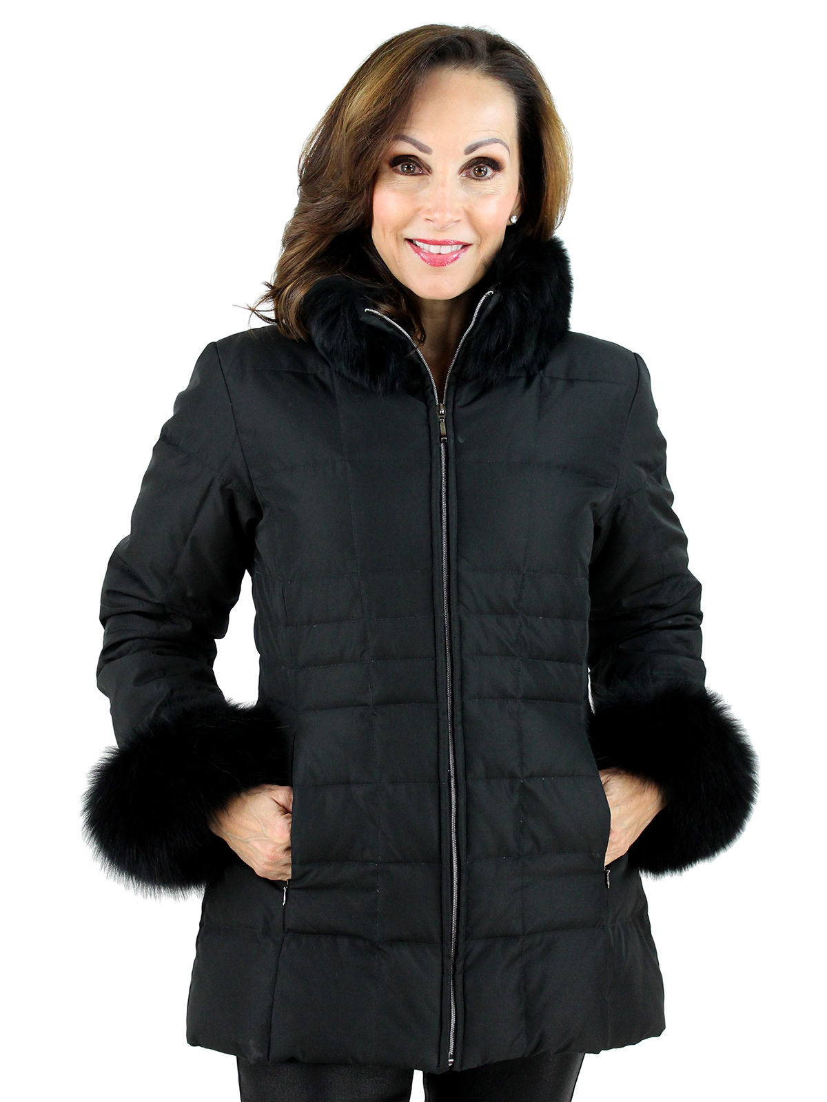Woman's Black Nylon Quilted Ski Parka with Fox Collar and Cuffs