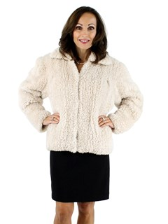 Woman's Rose and Beige Sheared Beaver Knit Fur Jacket
