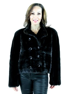 Bob Mackie Woman's Double Breasted Female Mink Fur Jacket