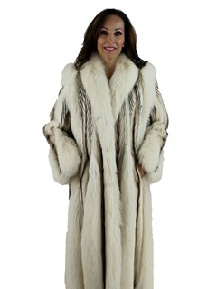 Woman's Tourmaline, Pastel and Mahogany Mink Fur Coat with Fox Inserts and Tuxedo Front
