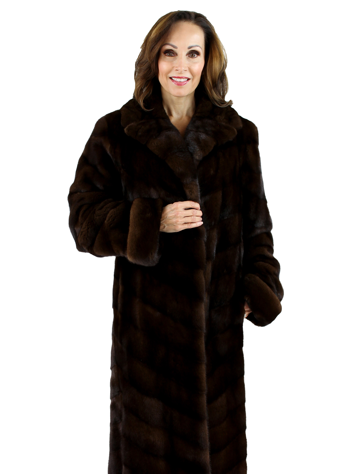 Saks Fifth Avenue Woman's Mahogany Female Mink Directional Fur Coat