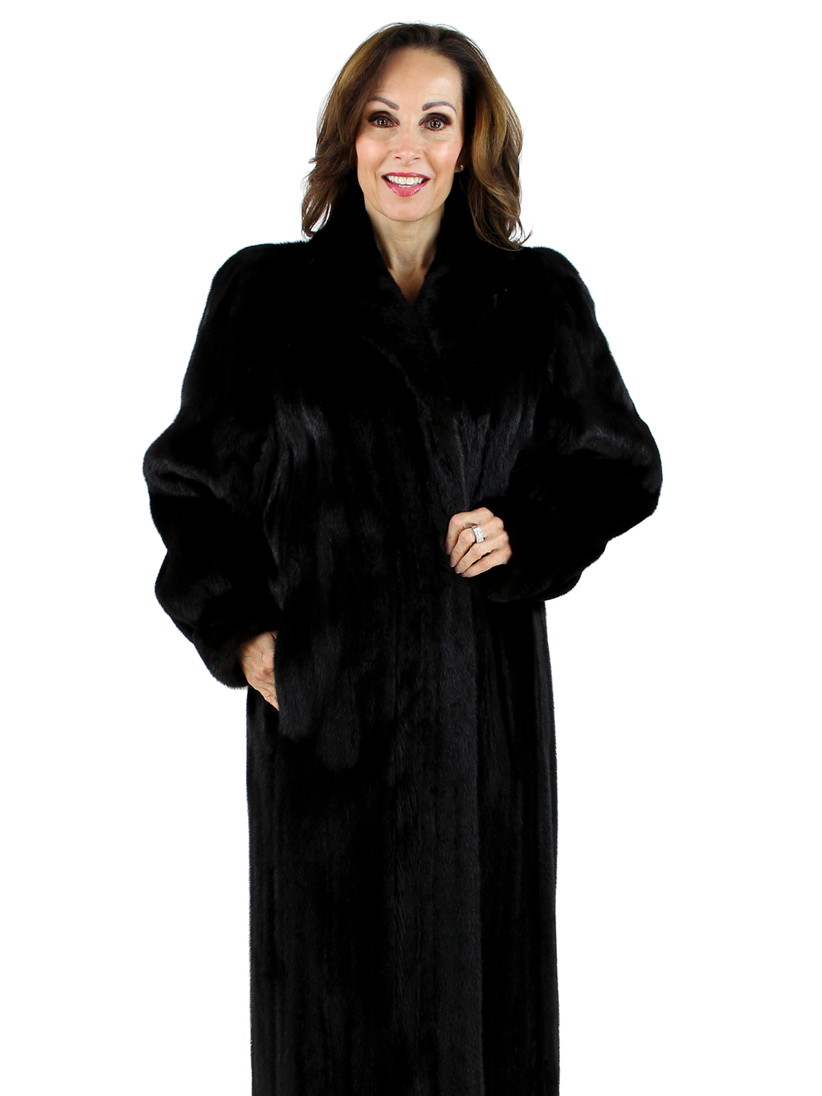 Woman's Ranch Female Mink Fur Coat with Matching Braided Headband