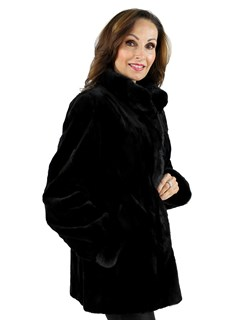 Woman's Black Sheared Sculptured Mink Fur Jacket Reversible to Rain Taffeta