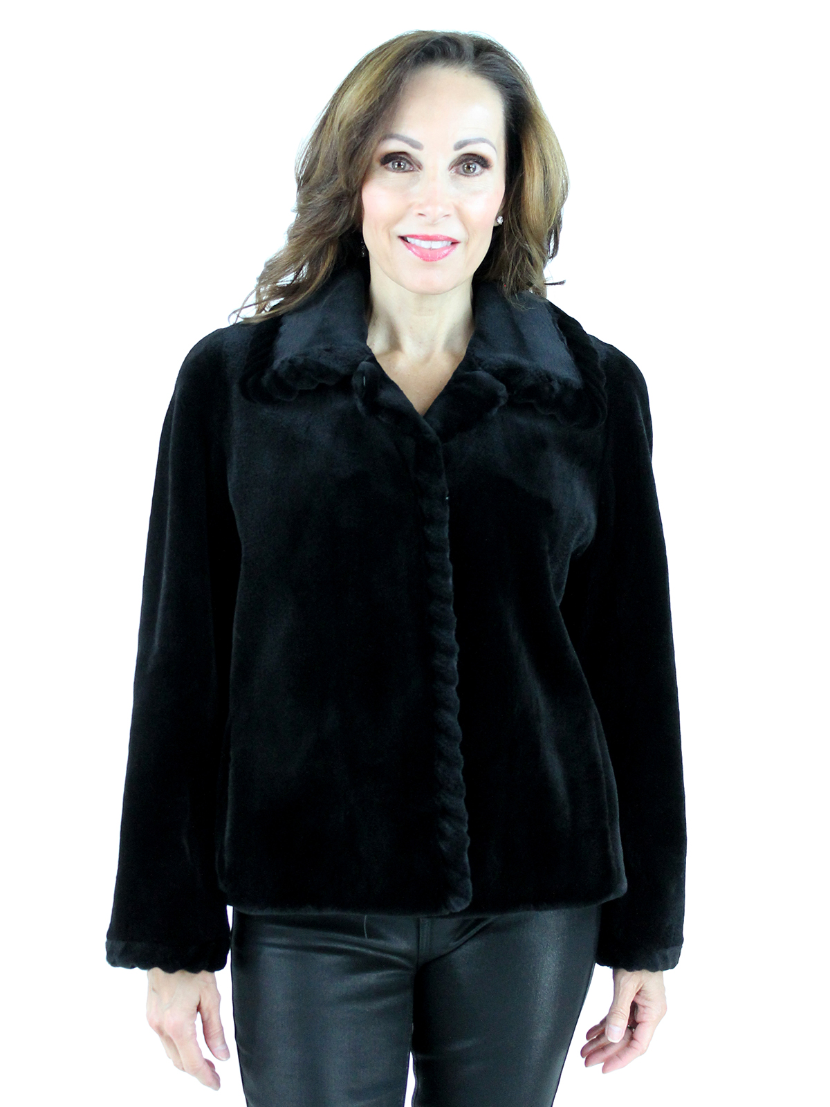 Louis Feraud Woman's Black Sheared Mink Fur Jacket with Laser Grooving