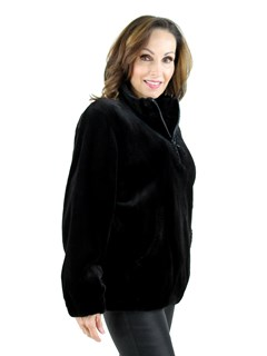 Louis Feraud Woman's  Black Sheared Mink Fur Pullover Jacket