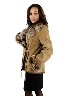 Woman's Rizal Beige Suede Shearling Jacket