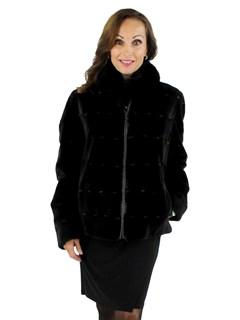 Woman's Black Sheared Mink Fur Jacket