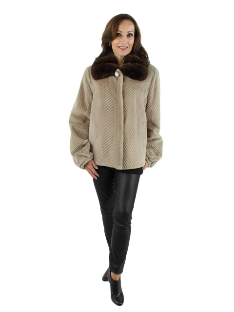 NEW Sheared Mink Fur with Chinchilla collar