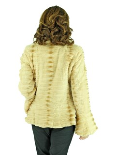 Women's Beige Rex Rabbit Fur Sculpted Jacket