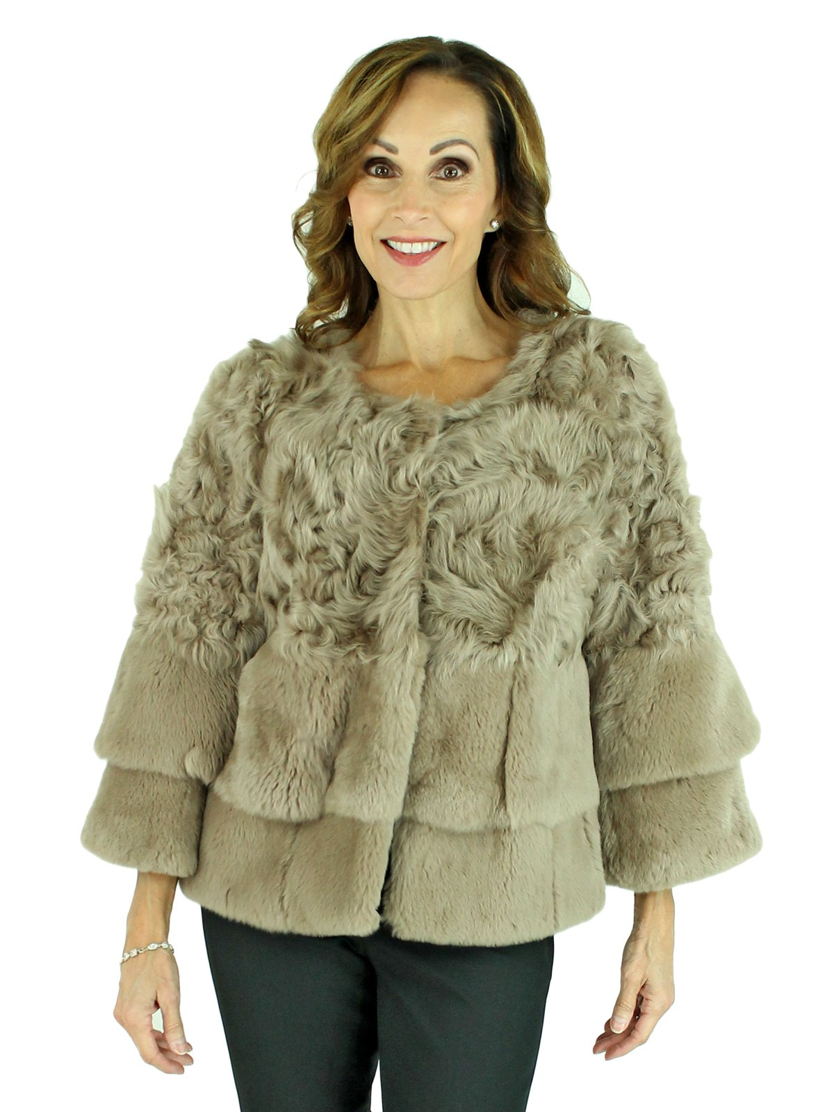 Woman's Beige Curly Lamb and Rex Rabbit Cropped Fur Jacket