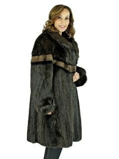 Women's Ebony Beaver Fur Stroller with Sheared Mink Inserts