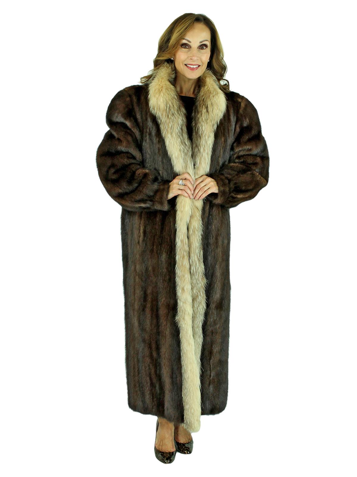 Woman's Mahogany Mink Fur Coat with Crystal Fox Tuxedo Front