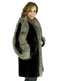 Woman's Black Sheared Beaver Fur Stroller with Crystal Fox Trim