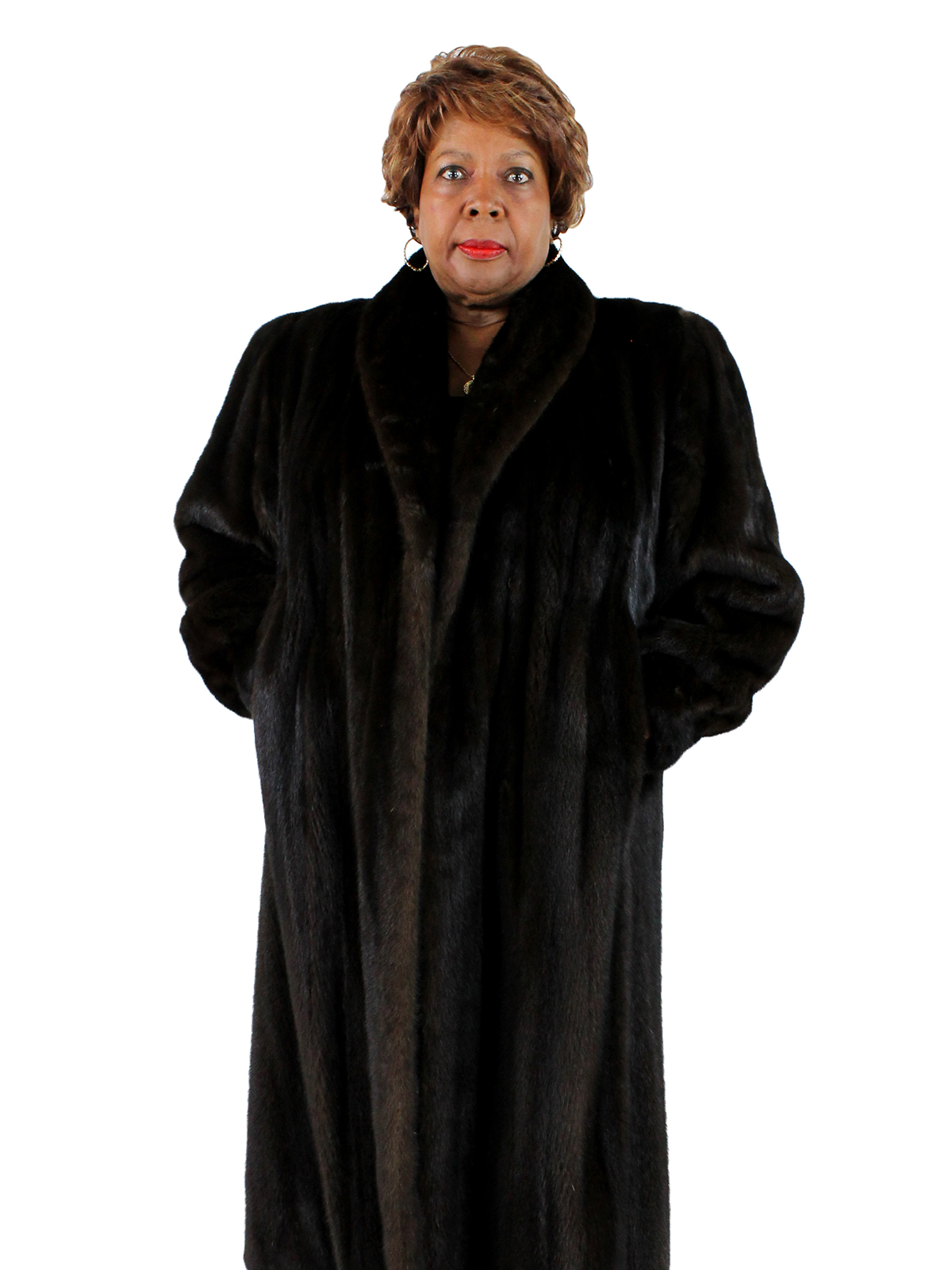 Woman's Plus Size Mahogany Mink Fur Coat