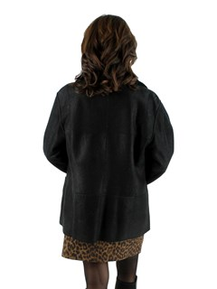 Woman's Black Christ Reversible Shearling Lamb Jacket