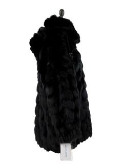 Man's Black Section Fox Fur Jacket with Detachable Hood