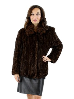 Mahogany Knit Mink Jacket