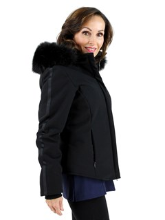 Woman's Black Fabric Ski Jacket with Fox Hood