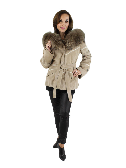 NEW Woman's Taupe Rabbit Shearling Parka with Finnish Raccoon Fur