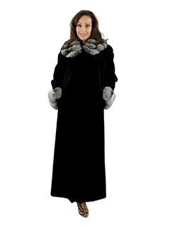 Woman's Black Sheared Mink Fur Coat with Chinchilla Collar & Cuffs