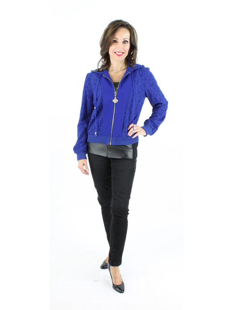 Blue Fabric Zipper Jacket