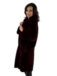 Burgundy Mink Coat Reversible to Suede Leather Finish