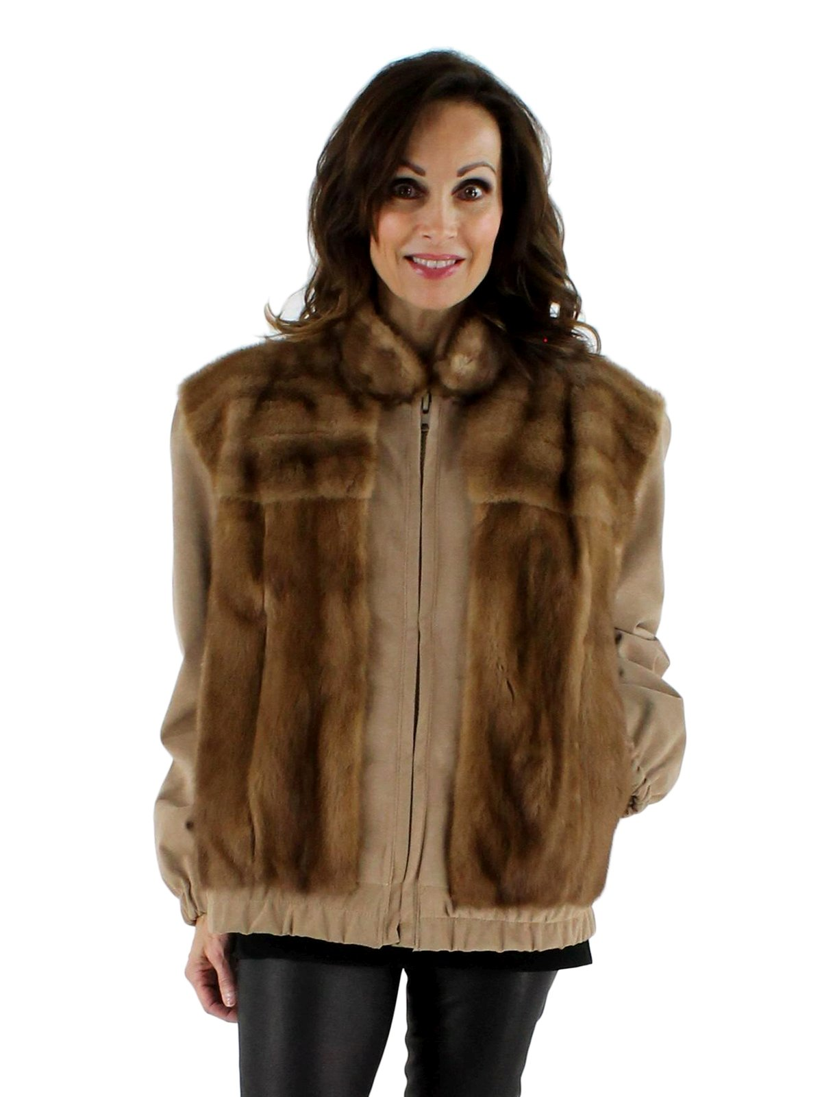 Autumn Haze Mink Jacket with Suede Sleeves