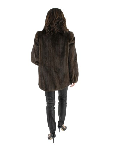 Cord Cut Mink Fur Jacket