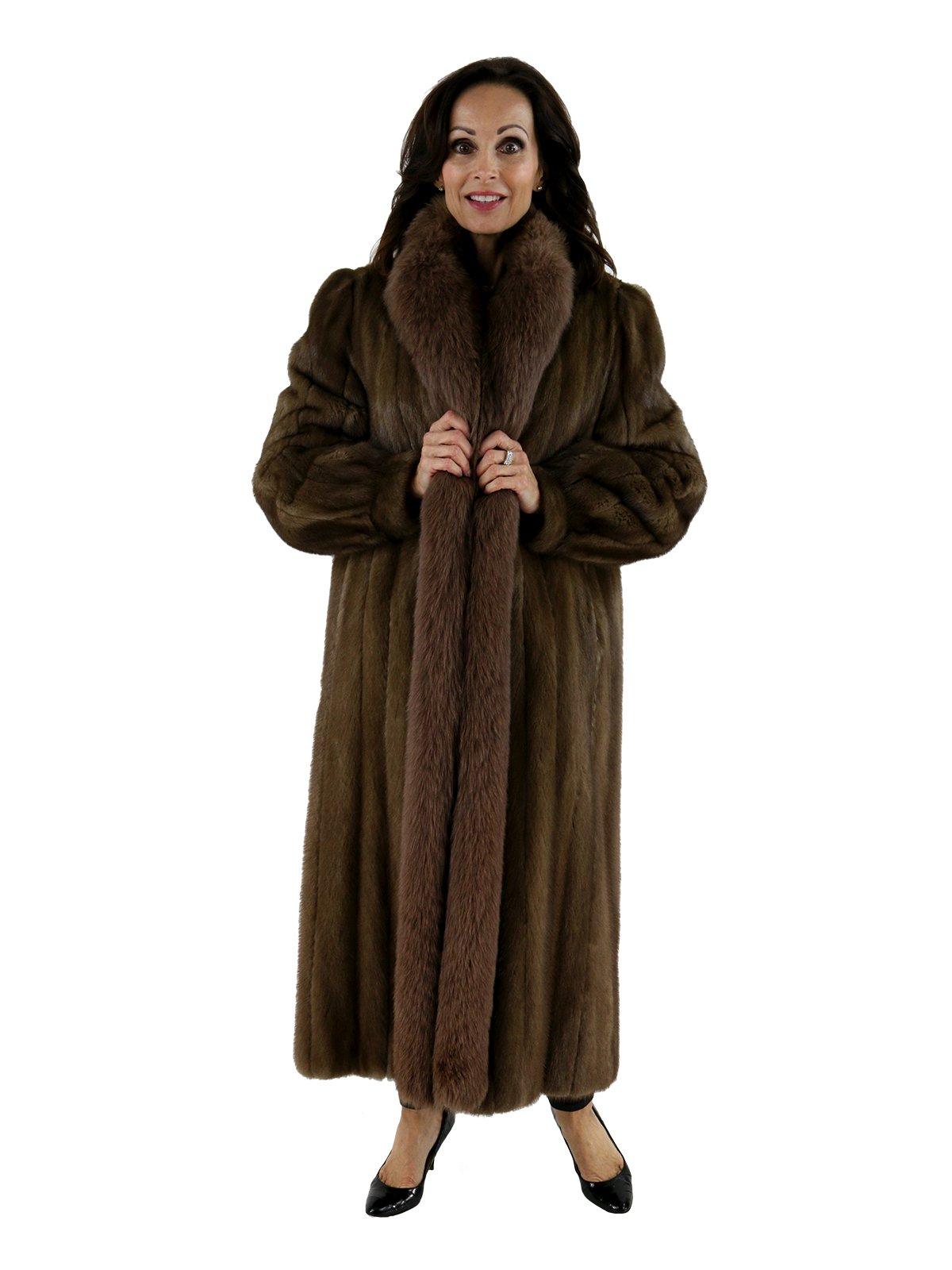 Pastel Mink Coat with Matching Fox Tuxedo Front