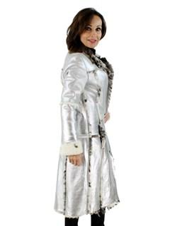 Dolce & Gabbana Metallic Silver Shearling Coat