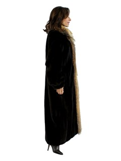 Mahogany Mink Coat with Crystal Fox Tuxedo Front