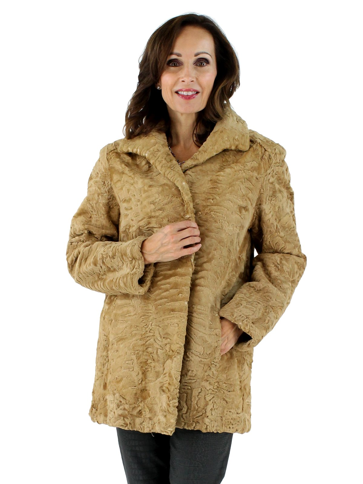 Woman's Golden Swakara Lamb Fur Stroller