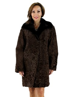 Woman's Brown Swakara Fur Stroller with Mink Fur Collar