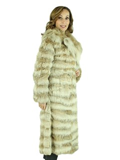 Woman's Natural Lynx Horizontal Design Fur Coat