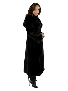 Female Ranch Mink Fur Coat with Hood