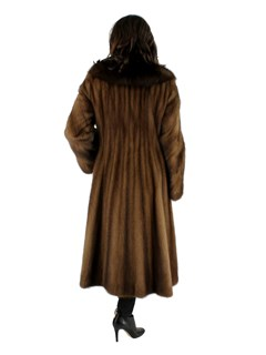 Female Mahogany Mink Coat with Notched Sable