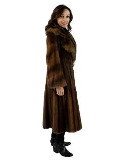 Woman's Lunaraine Female Mink Fur Coat with Large Sable Collar