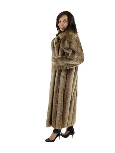 Blond Long Hair Beaver Fur Coat