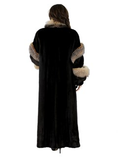 Mahogany Mink Fur Female Skin Coat with Crystal Fox Trim