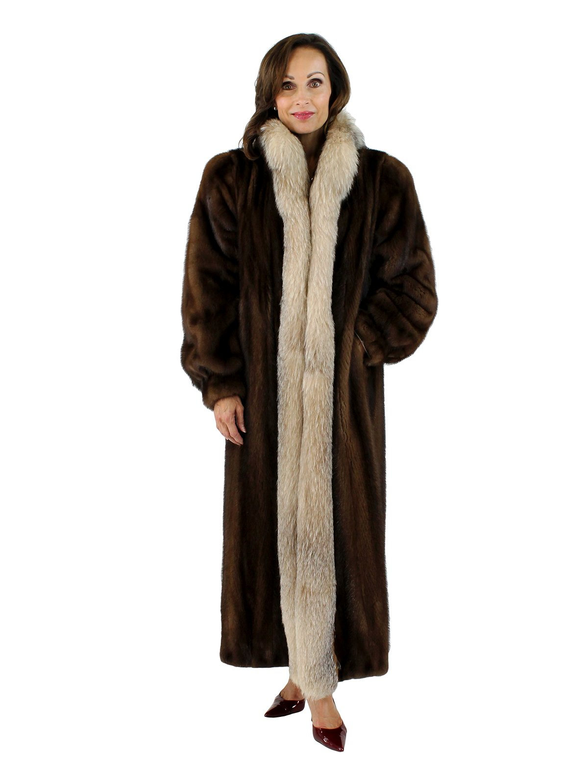 Woman's Mahogany Mink Fur Coat with Crystal Fox Tuxedo Front