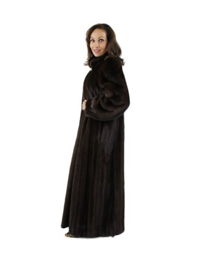 Black Sheared Mink Coat with Chinchilla Collar & Cuffs