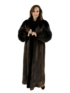 Long Hair Beaver Fur Coat with Sheared Beaver Trim