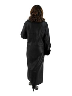 Woman's Christ Black Shearling Coat with Sheared Nutria Trim
