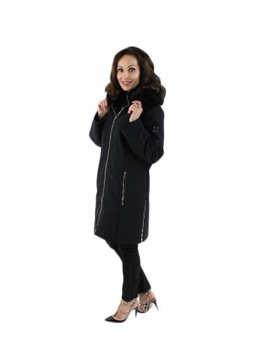 Microfiber Parka w/ Fox Fur Trimmed Detachable Hood