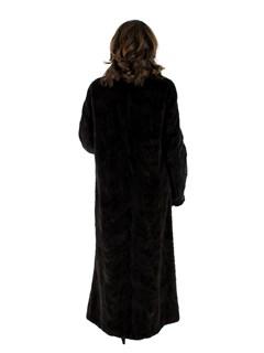 Dark Brown Section Sheared Mink Fur Coat