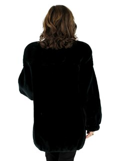 Woman's Black Olive Sheared Beaver Fur Jacket